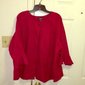 Avenue-Ruby Red suede like Blouse